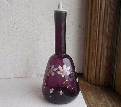 PONTILED ORIGINAL 1880s AMETHYST BARBER BOTTLE HAND PAINTED FLOWERS WITH TOP