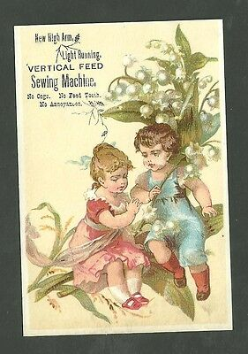 1880's Trade Card New High Arm Light Running Vertical Feed Sewing Machine
