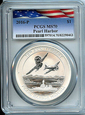 2016 P Pearl Harbor Perth Mint PCGS MS70 Graded Silver .9999 Coin Flag Label