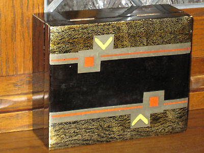 Black Gold Lacquer Box Foreign Japanese Geometric Art Deco Cigarette Trinket Box