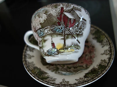 "VINTAGE RETRO 50s ""THE FRIENDLY VILLAGE"" LARGE JOHNSON BROS TEA CUP/SAUCER"