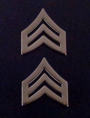 "SGT Sergeant Chevrons TALL 7/8"" Silver/Nickel Pair Collar Pins police/sheriff"