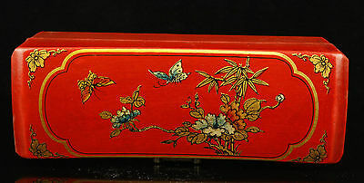 China Old Handwork Painting Flowers Birds Exquisite Leather Jewelry Box