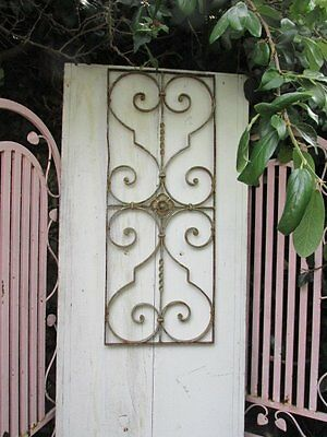 THE BEST OLD ARCHITECTURAL Chippy White METAL DECOR PIECE Very ORNATE Patina