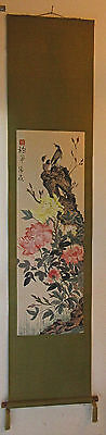 Long Chinese Scroll Birds On Branch & Chrysanthemums Signed Red Stamp Tassels