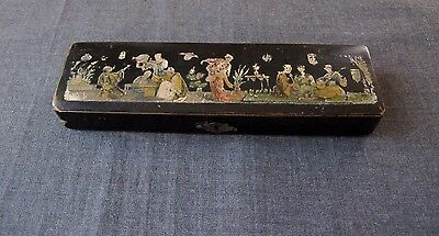 Antique 19Th Century Chinese Lacquer Papier Mache Writing Box Painted Figures