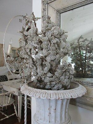 """EXQUISITE Old Vintage French BEADED FLOWERS Tiny WHITE Beads on 22"""" Long Stems"""