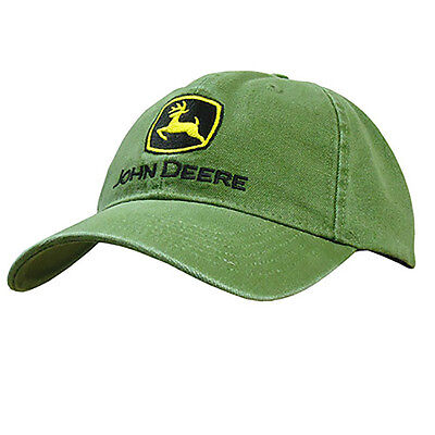 JOHN DEERE *GREEN HEAVY WASHED CANVAS* Trademark Logo HAT CAP *BRAND NEW*