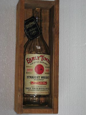 Vtg Early Times Old Style Sour Mash Straight Whiskey Bottle & Wood Wooden Box