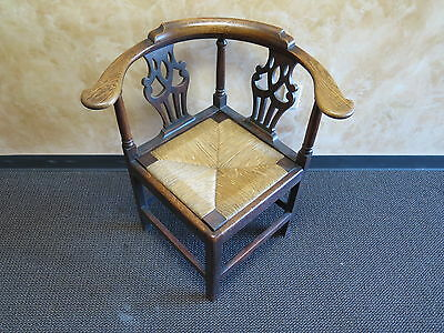 Antique/Vintage Dark Wood w/ Cane or Straw Set Rounded Corner Chair