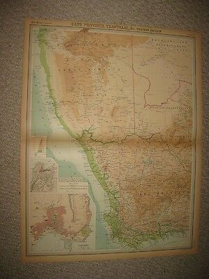 Huge Antique 1922 Cape Province Transvaal Africa The Times Atlas Map Cape Town N
