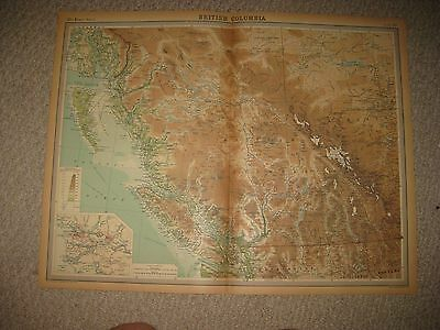 Huge Folio Antique 1922 British Columbia Vancouver Canada Times Atlas Map Superb
