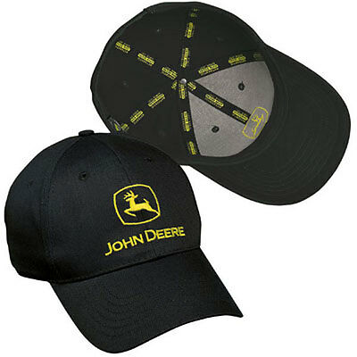 JOHN DEERE BLACK *CONSTRUCTION* Trademark LOGO Twill CAP HAT *BRAND NEW!*