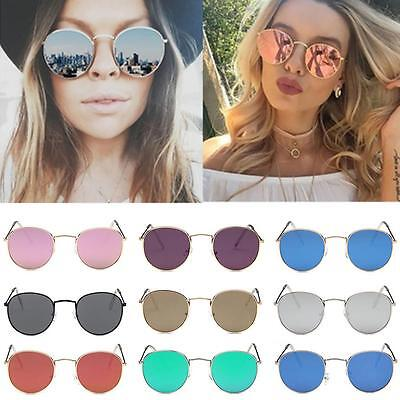 Sunglasses Women Rose Gold Metal Frame Circle Glasses Mirrored Round Sunglasses