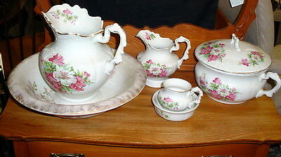 Antique Floral Royal Ironstone China Anchor Pottery Chamber Pot Pitcher Bowl