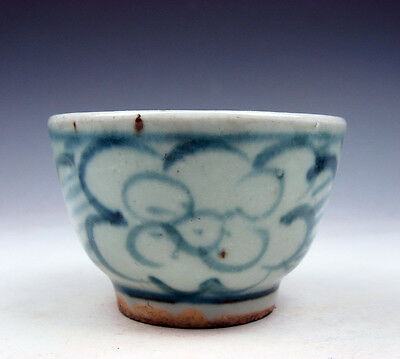Antique Blue&White Glazed Porcelain Flower Blossoms Hand Painted Cup #03061708