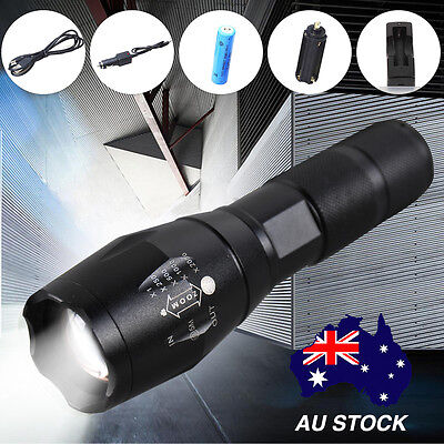 8000LM CREE T6 LED Zoomable Flashlight Waterproof Torch Light 18650 Battery Kit
