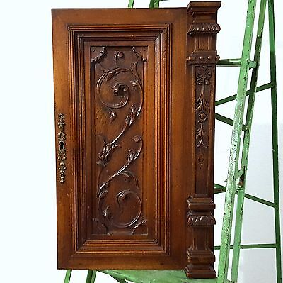 CABINET DOOR PANEL SOLID ANTIQUE FRENCH GOTHIC CARVED WOOD SALVAGED CARVING b