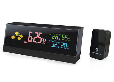 Cube Digital Lcd Wireless Weather Station Alarm Clock Indoor Outdoor Ygh-393