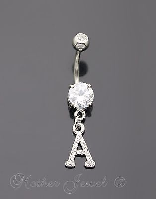 Letter A Alphabet Cz Dangle 316L Surgical Steel Navel Belly Curved Bar Ring