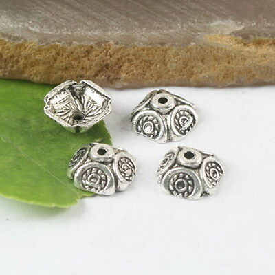 12mm Tibetan Silver Floral Beads Caps 40 pcs H0022