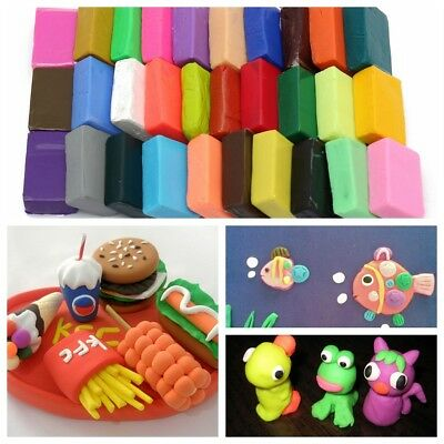 32PCS Craft Malleable Fimo Polymer Clay Modelling Block Plasticine Toys+ 5 Tools