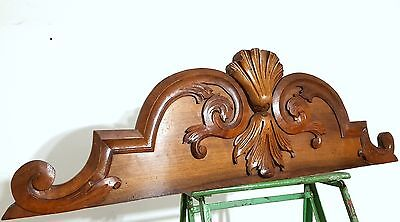 CARVED WOOD PEDIMENT ANTIQUE FRENCH SALVAGED CARVING MOUNT CORNICE CREST 19th