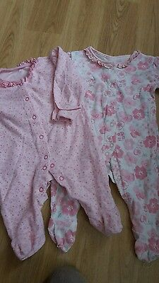 x2 pink baby girls babygrow age 0-3 mths