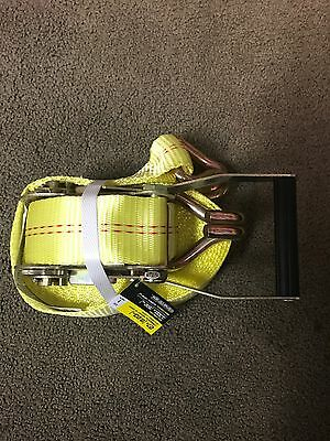 Commercial Ratchet Tie Down With Double J Hooks, 27FT
