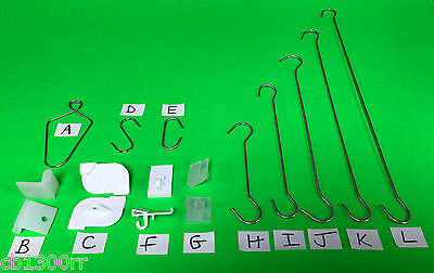 100 Suspended Ceiling Grid Hangers Clips Hooks Twist Wire POS Hang Sign Display