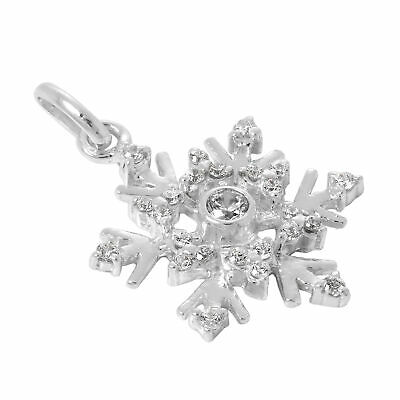 Large Sterling Silver & CZ Crystal Snowflake Charm Winter Snow Christmas Charms