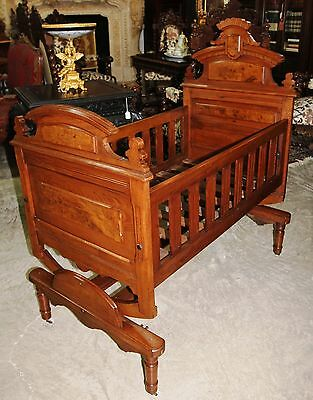 Antique American Burl Walnut Victorian Baby Child Bed Cradle Crib  Circa 1870