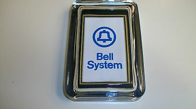 Bell System Telephone Name Blue Phone Advertising Sign Logo GLASS PAPERWEIGHT GT