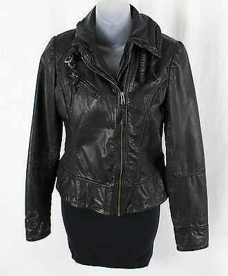 Allsaints Spitalfields Women's Black Leather Front Zip Long Sleeve Jacket 6