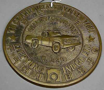 1970's TAEPYUNG INDUSTRIAL CO KOREA BRONZE PLAQUE Showing DODGE M-880 CUCV Truck