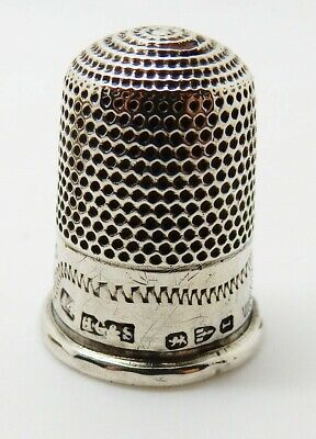 Antique English Victorian 1892 Chester Hallmarked Sterling Silver Thimble SZ 14