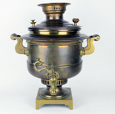 Antique Russian Samovar Solid Brass and wood Urn Tea Pot Heavy Brass