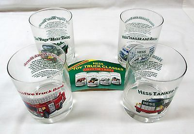 Hess Truck Glasses Set Of 4  New Very Durable  With Advertising Cards