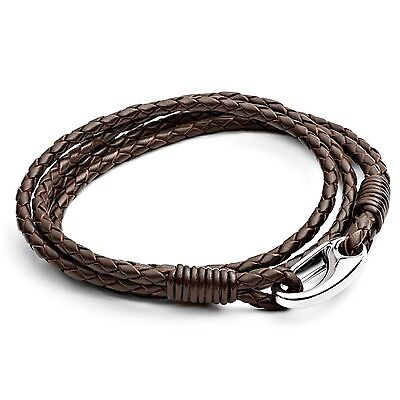 Tribal Steel Men's 21cm Brown Leather 4-Strand Bracelet with Stainless Steel ...