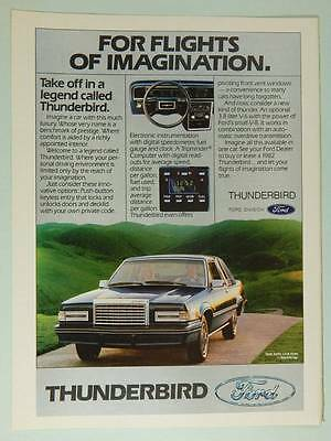 1982 Ford Thunderbird - Vintage Magazine Ad Page - Car / Automobile Advertising