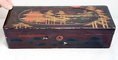 Vintage Oriental Handpainted & Lacquered Glove Box with Lake Scene - 30cms. Wood