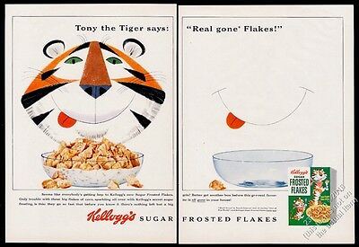 1954 Tony the Tiger big color art & cub box Kellogg's Frosted Flakes cereal ad