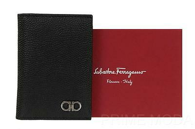 New Salvatore Ferragamo Black Pebble Leather Logo Id Card Holder Case Wallet