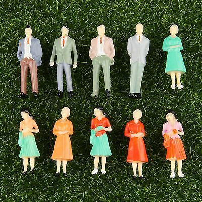 10pcs Seated People Figures Model Train Scenery DIY 1:50 Scale Colorful Painted