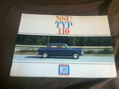 1960s NSU TYP 110 Large 16 page Color Brochure Catalog Prospekt