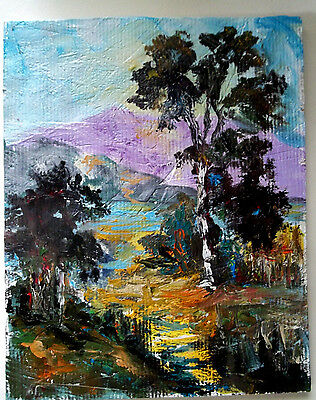 Landscape  modern impressionism oil painting orig signed trees path Gail Grant