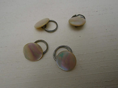 """Matched Set Four Antique Shank MOP Buttons Mother of Pearl Shell 1/2"""" Diameter"""