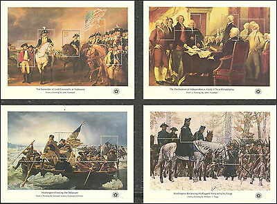 #1686-1689, Bicentennial Souvenir Sheets with Envelope, VF Never Hinged