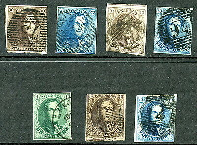 Belgium - Collection of Early Issues - Sc# 1 , 2 , 3 , 4 , 9 , 10 & 11 Used S842