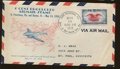 First Day Cover #C23 W/ Cachet 6c Bi Colored Airmail Stamp Saint Petersburg FL